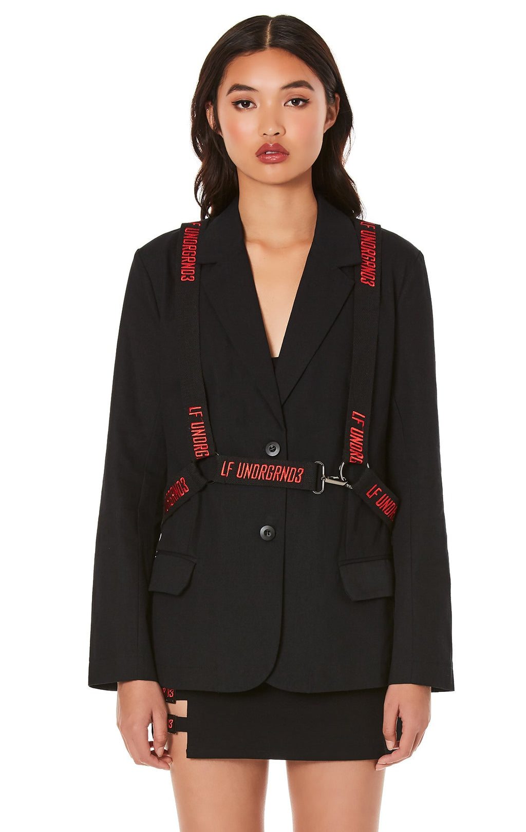 LF THE BRAND JACKET WITH EMBROIDERED SUSPENDER HARNESS CROP FRONT
