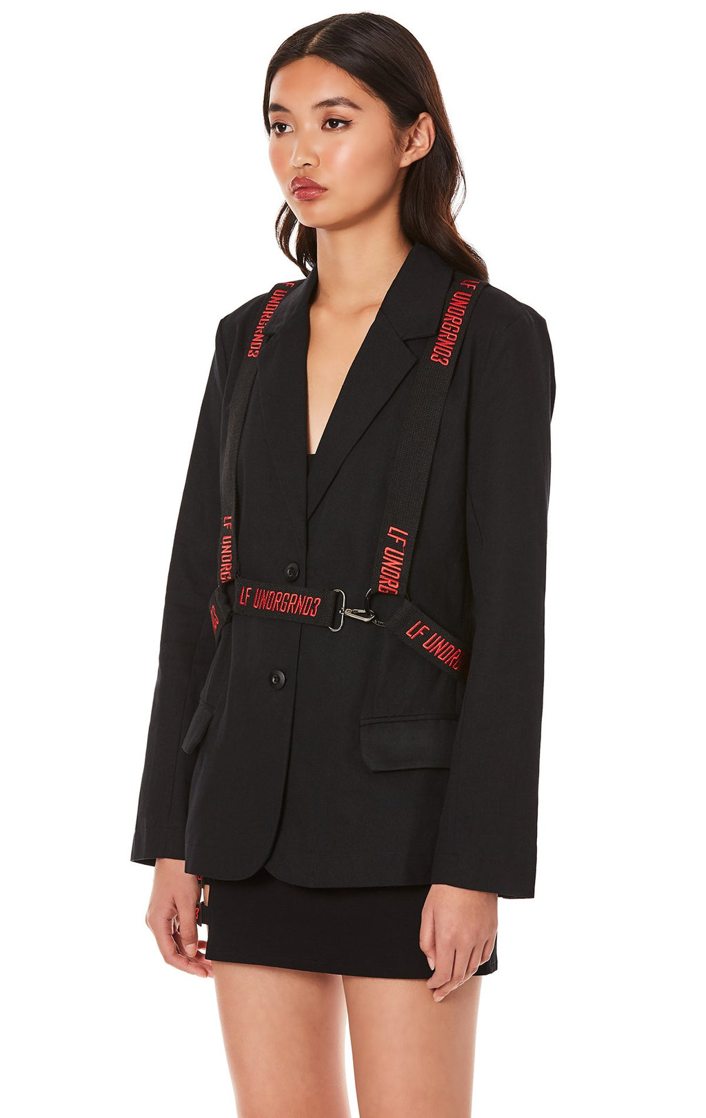 LF THE BRAND JACKET WITH EMBROIDERED SUSPENDER HARNESS ANGLE