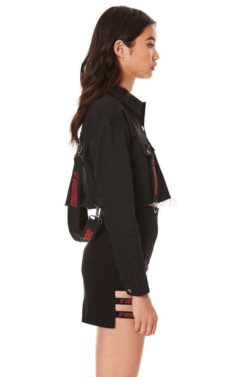 CARGO CROPPED JACKET WITH SUSPENDERS