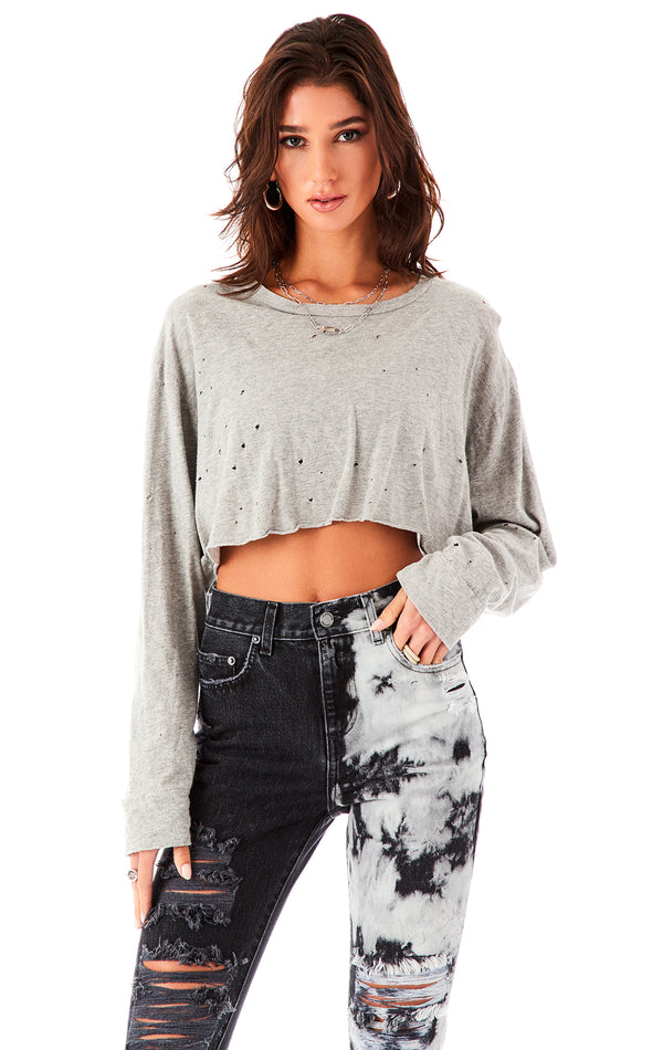 STONEWASHED LONG SLEEVE CROP T-SHIRT