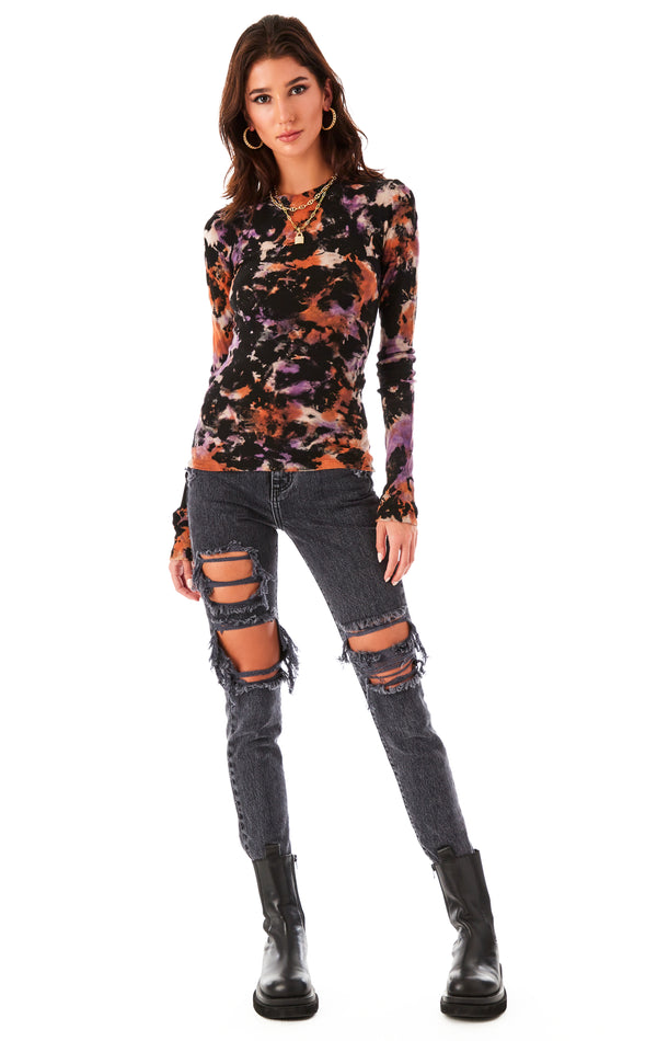 SMOKE TIE DYE LONG SLEEVE THERMAL T-SHIRT