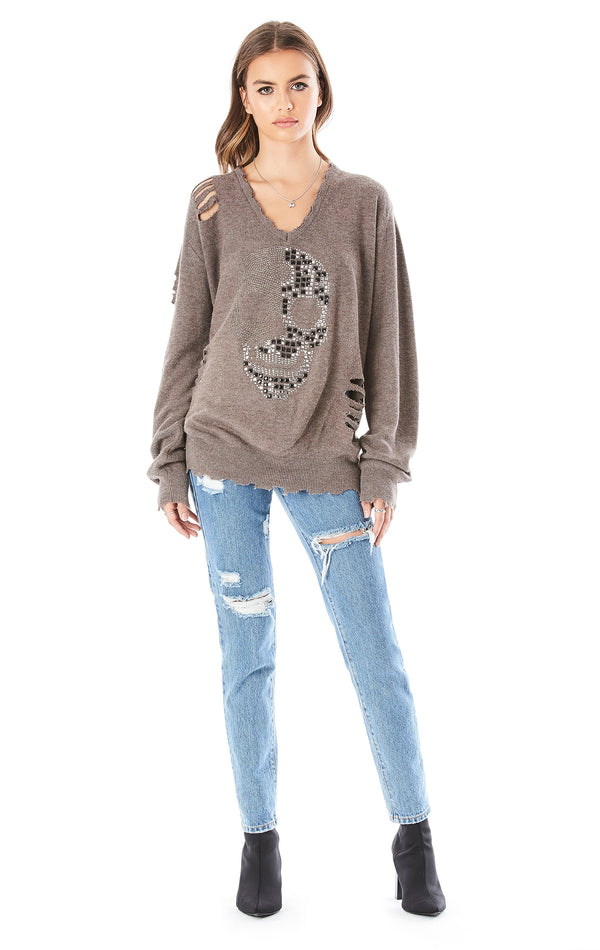 VINTAGE DISTRESSED RHINESTONE SKULL SWEATER