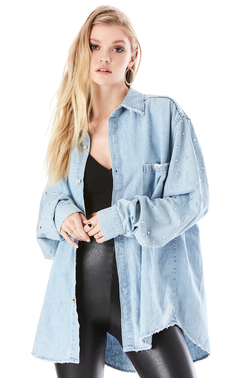 RHINESTONE SLEEVE CHAMBRAY SHIRT