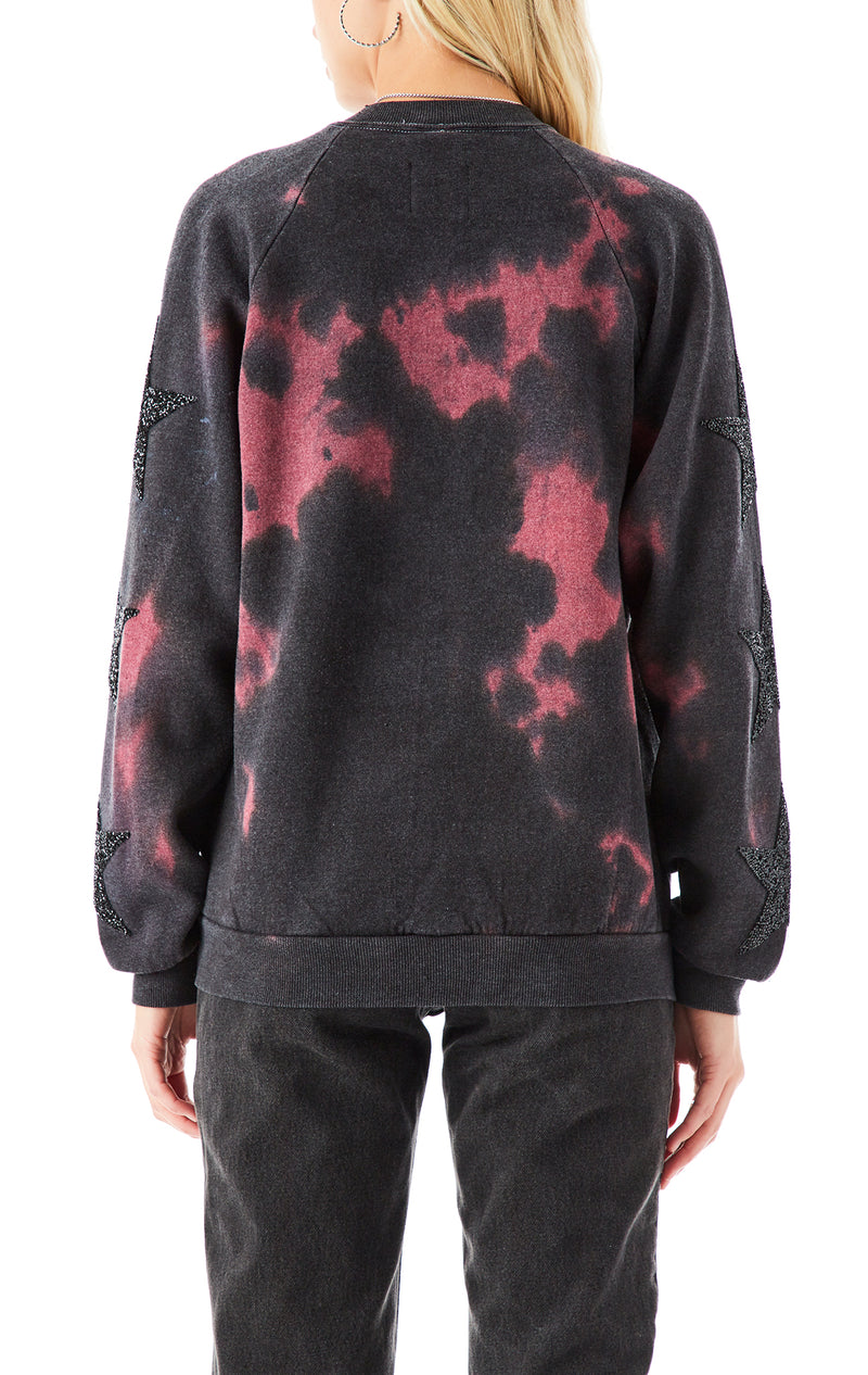 VINTAGE CLOUD TIE DYE BLACK STAR SWEATSHIRT