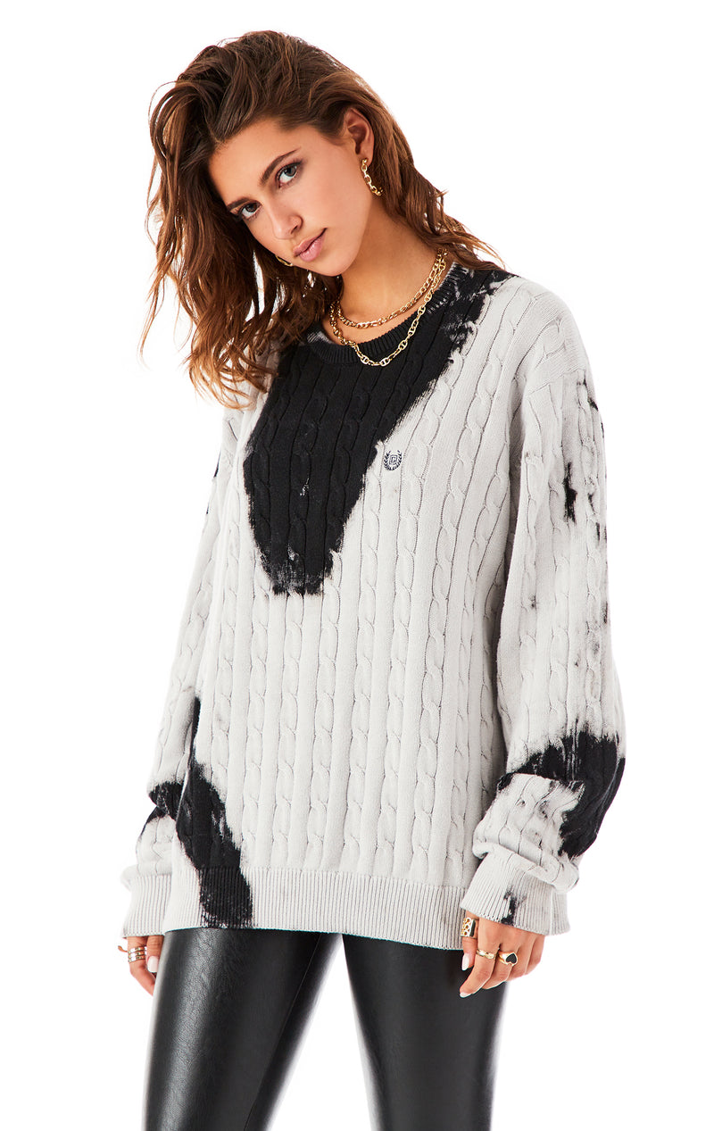 VINTAGE BLEACH INK BLOT SWEATER