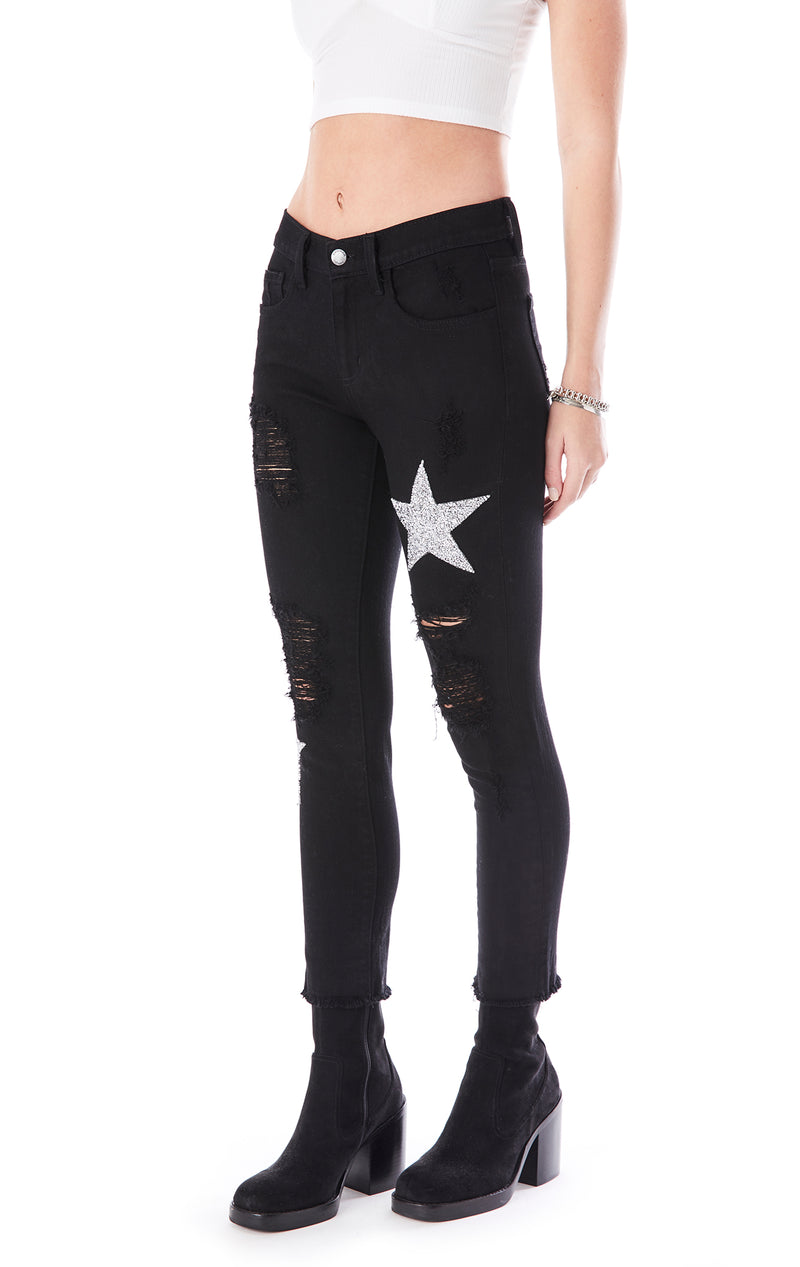MIA RHINESTONE STAR PATCH JEAN
