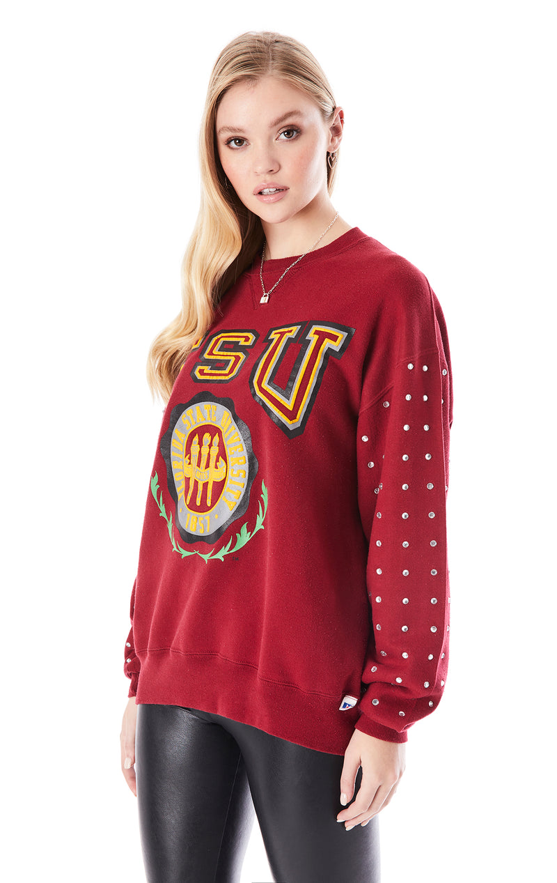 VINTAGE ALLOVER RHINESTONE COLLEGE SWEATSHIRT