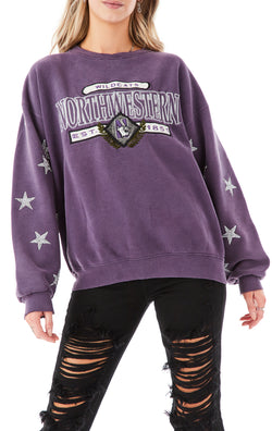 VINTAGE SILVER STAR PATCH CLUSTER SWEATSHIRT