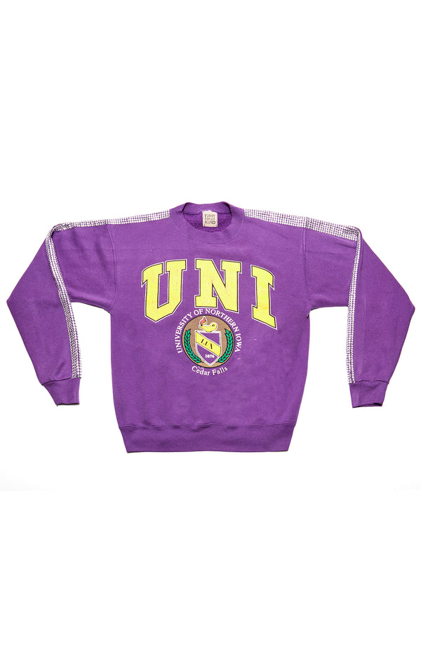 VINTAGE RHINESTONE STRIP COLLEGE SWEATSHIRT