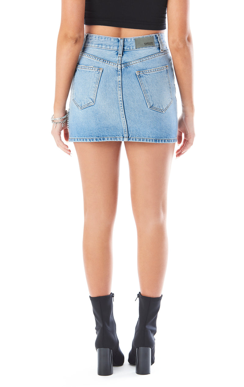 COLIN RHINESTONE FRINGE DENIM SKIRT