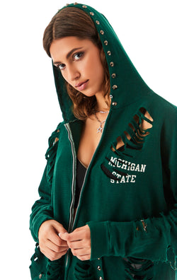 VINTAGE STUD HOOD ZIP UP SWEATSHIRT