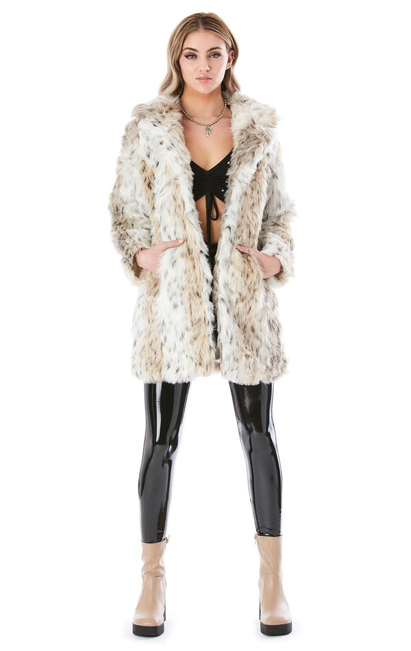 SNOW LEOPARD FUR COAT