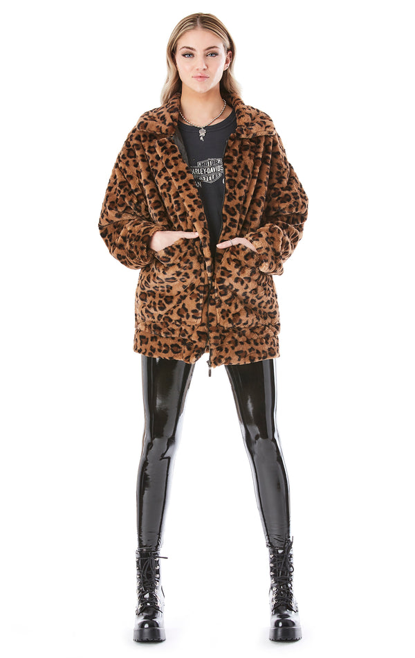 LEOPARD TEDDY ZIP FRONT COAT