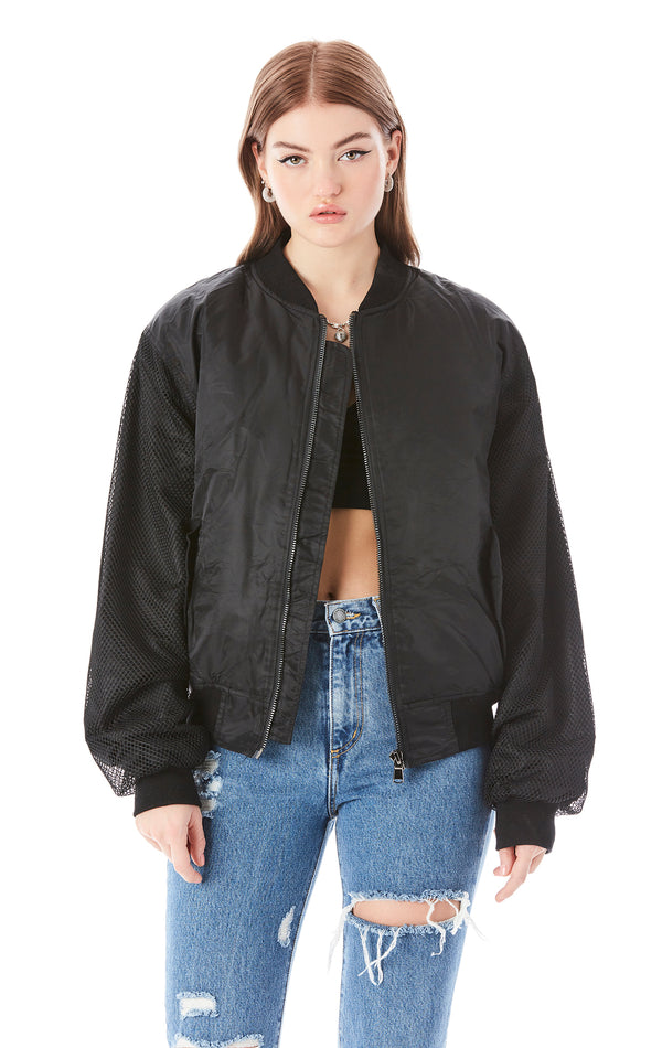 MESH SLEEVE BOMBER JACKET