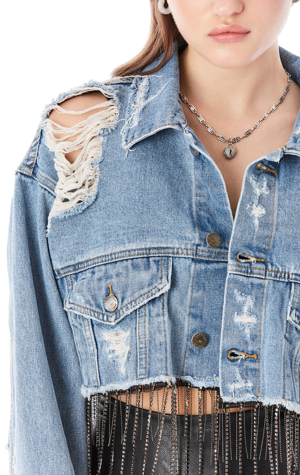 NICHOLAS HARLOU CROP DENIM JACKET