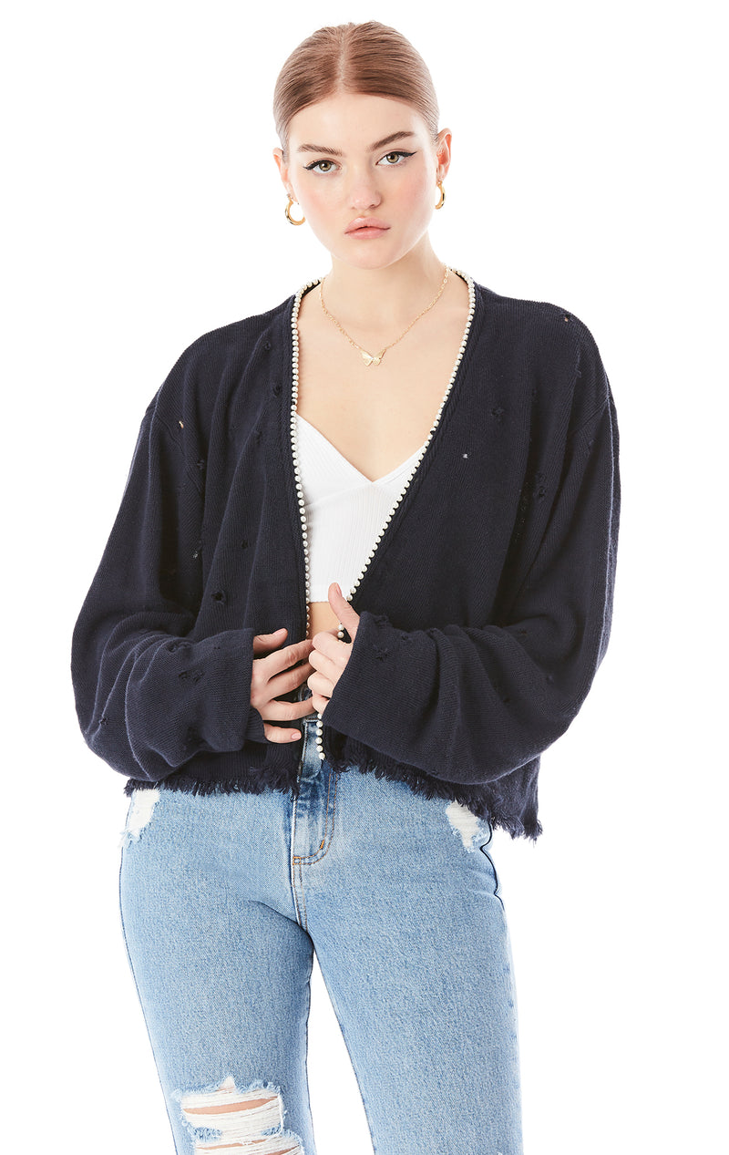 PEARL TRIM CROP CARDIGAN