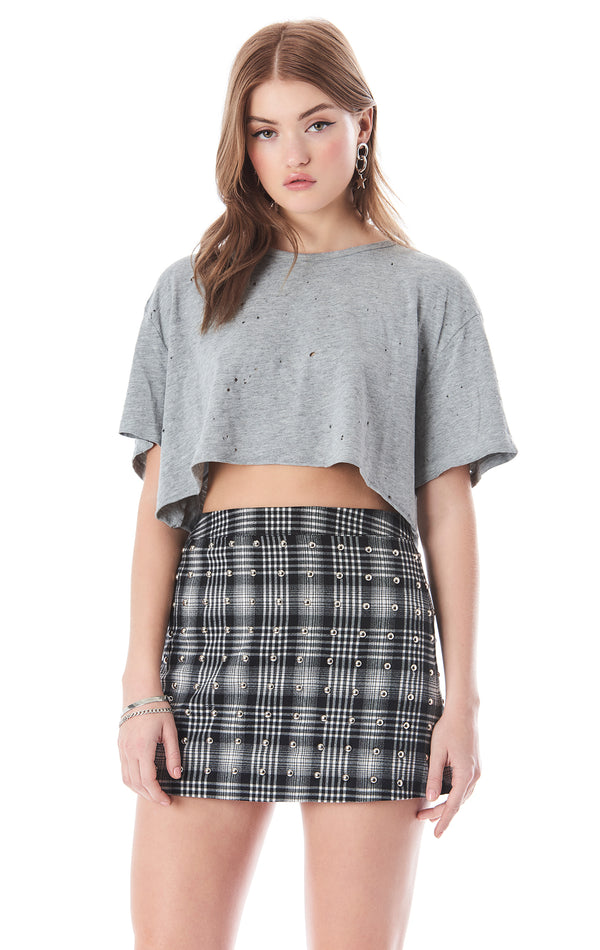 STONEWASHED CROP T-SHIRT