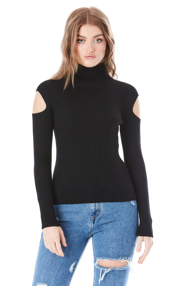 RIBBED COLD SHOULDER TURTLENECK SWEATER