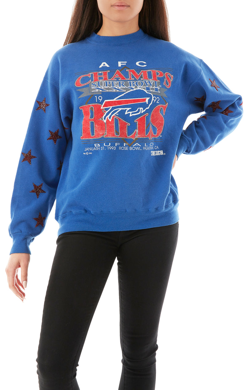 VINTAGE RED STAR PATCH CLUSTER SWEATSHIRT