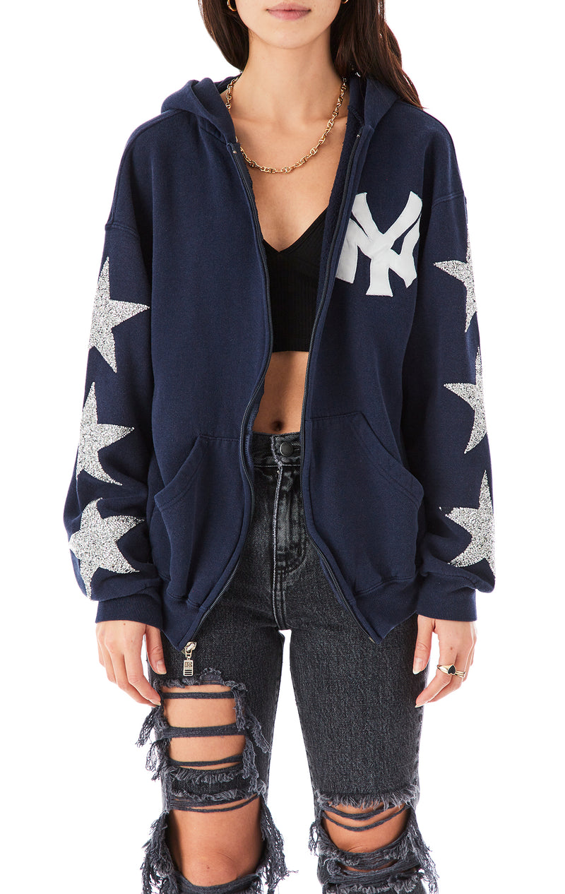 VINTAGE SILVER STAR PATCH ZIP UP