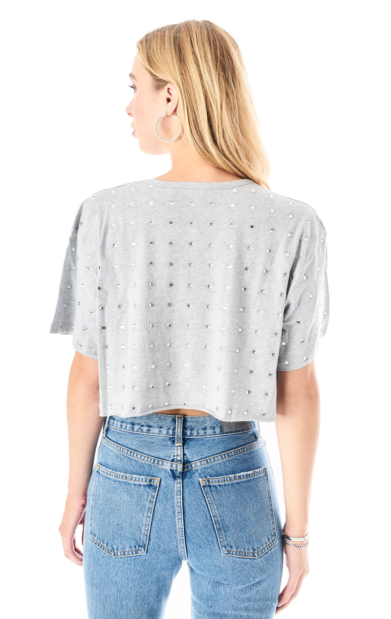 ALLOVER RHINESTONE CROP T-SHIRT