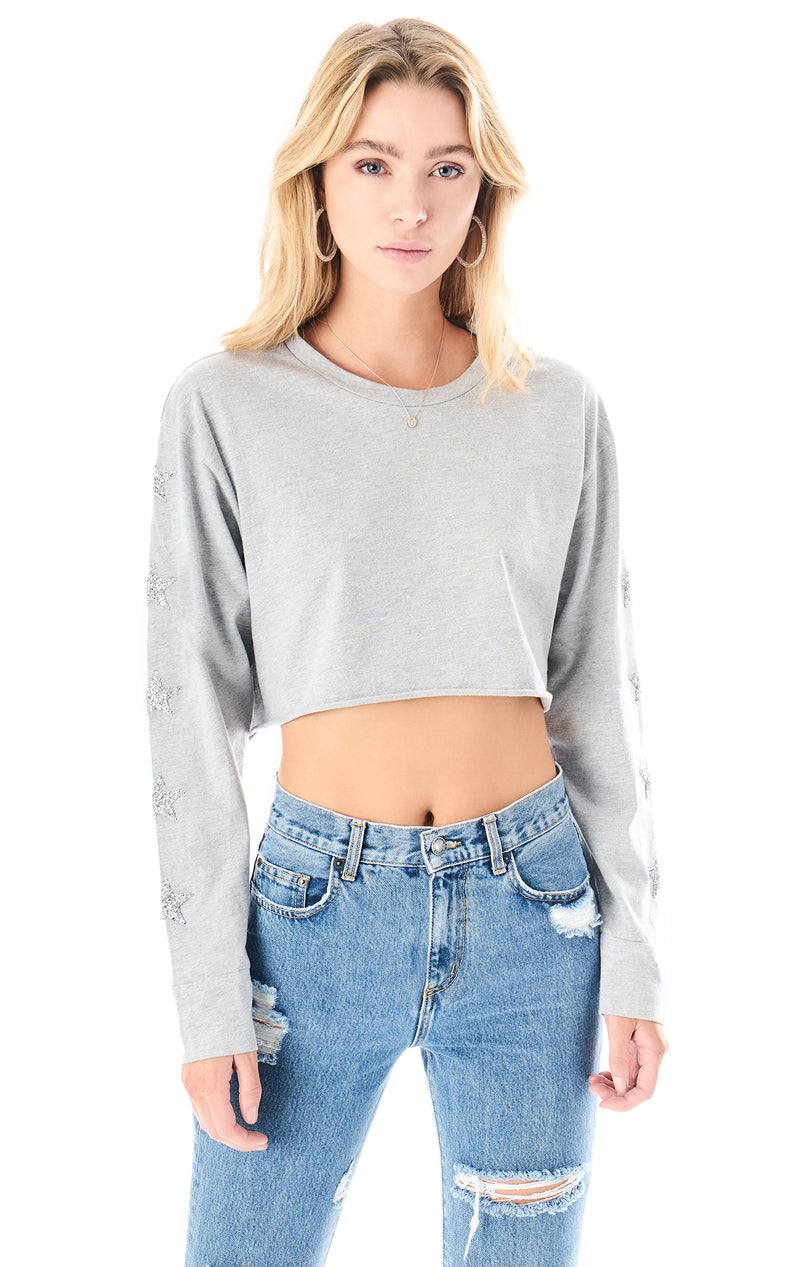 RHINESTONE STAR PATCH CROP LONG SLEEVE T-SHIRT