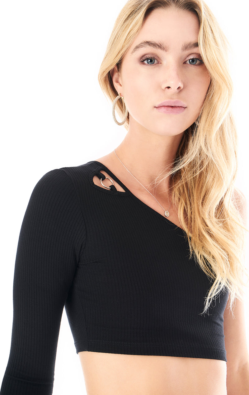 ONE SHOULDER RING LONG SLEEVE TOP