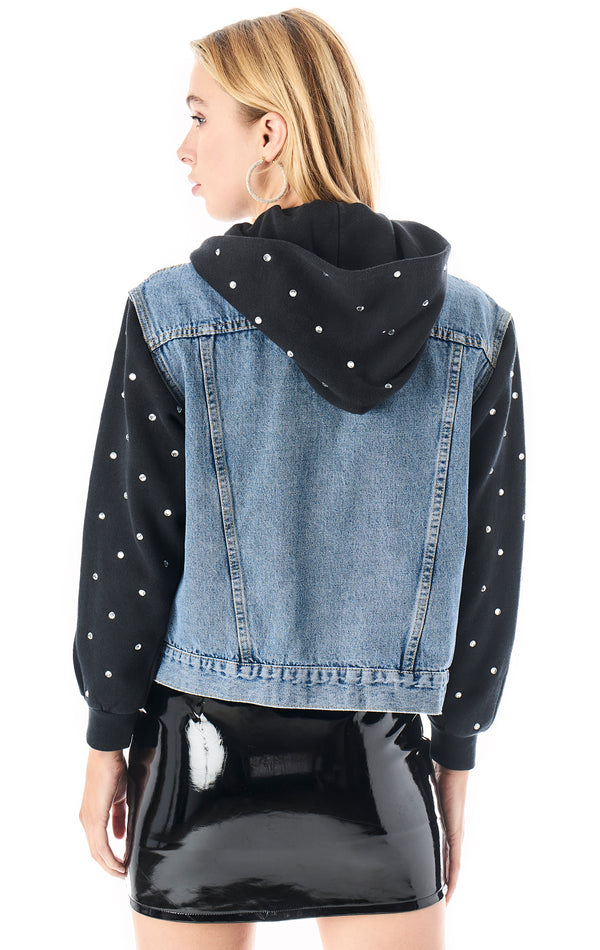 RHINESTONE HOODED DENIM JACKET