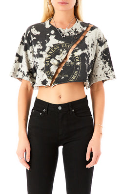 VINTAGE DIAGONAL PIN BLEACH CROP T-SHIRT