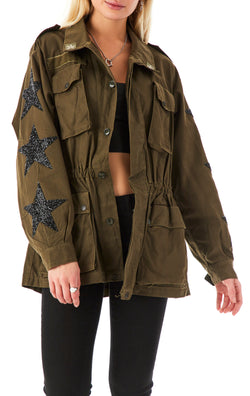 VINTAGE BLACK STAR PATCH ARMY JACKET
