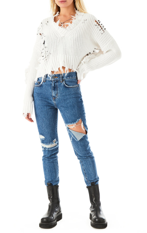 SAFETY PIN DISTRESSED CROP V-NECK SWEATER