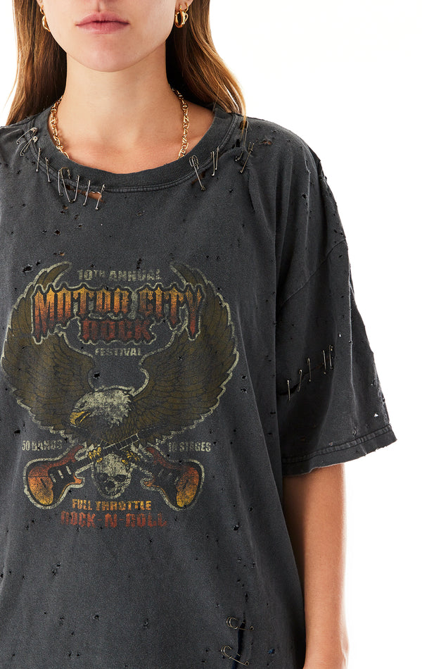VINTAGE SHREDDED SAFETY PIN T-SHIRT