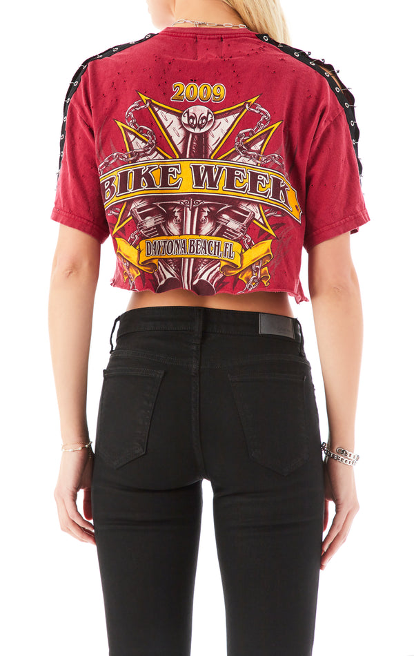 VINTAGE SAFETY PIN SLEEVE CROP T-SHIRT