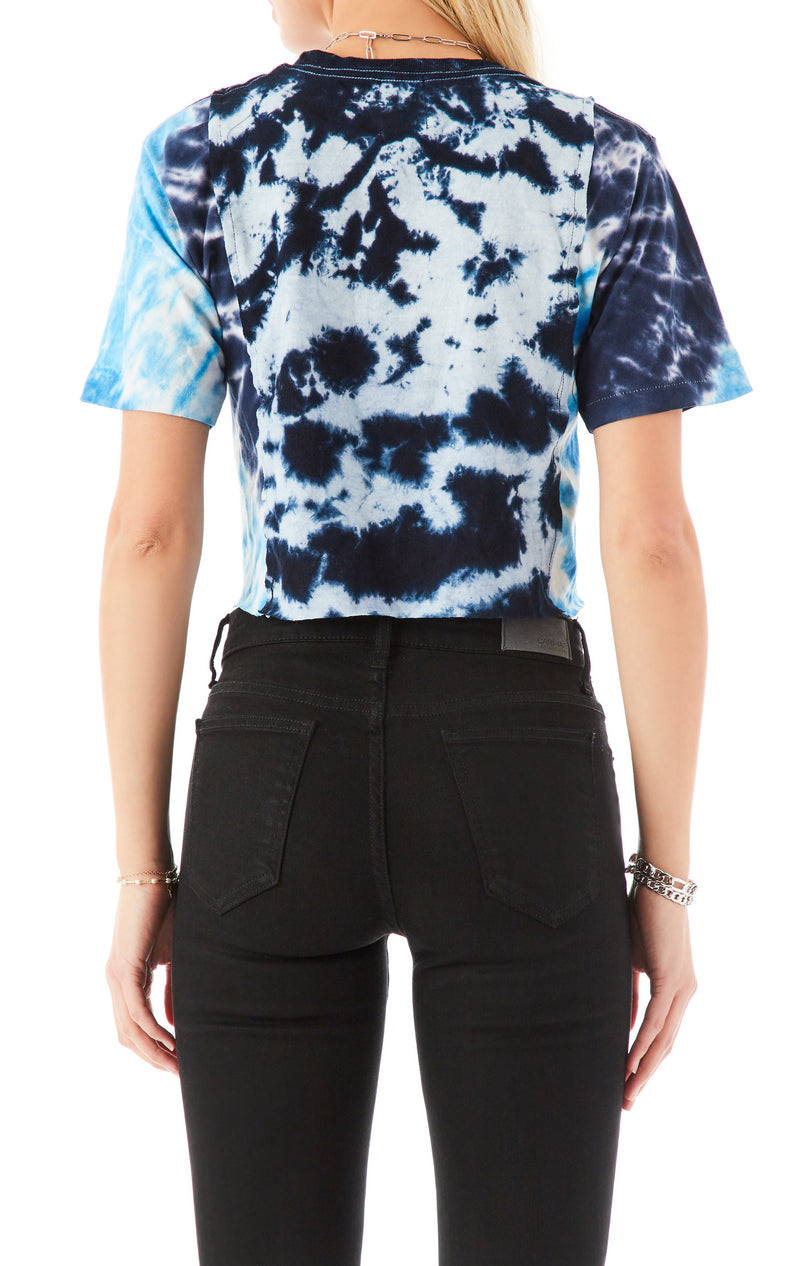 VINTAGE TIE DYE SPLICED CROP T-SHIRT
