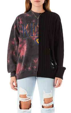 VINTAGE CLOUD TIE DYE SPLICED SWEATSHIRT SWEATER