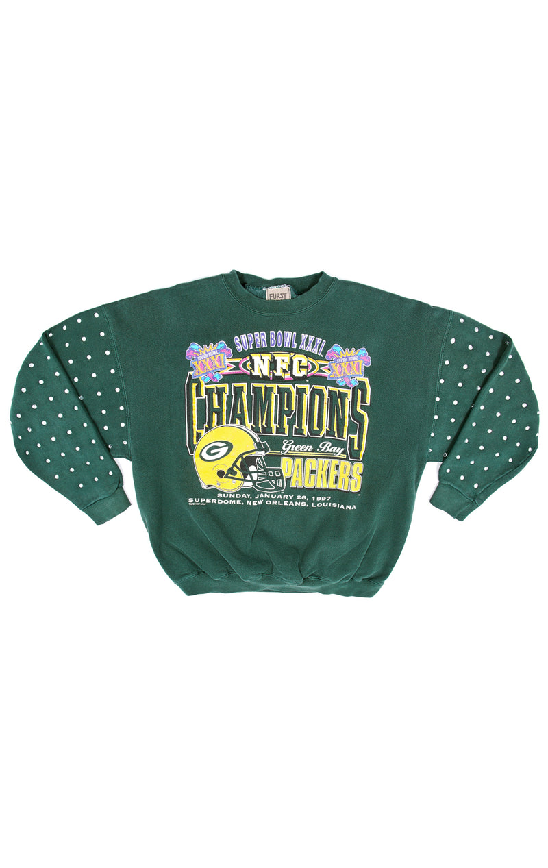 VINTAGE RHINESTONE SLEEVE SPORTS SWEATSHIRT