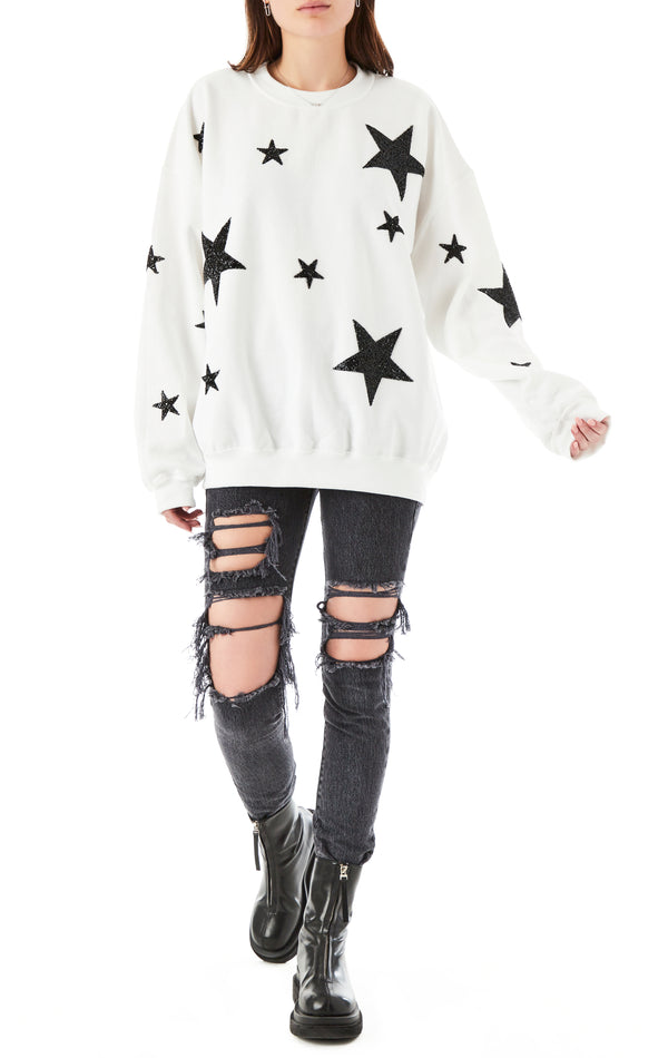 BLACK MIXED STAR PATCH PULLOVER SWEATSHIRT