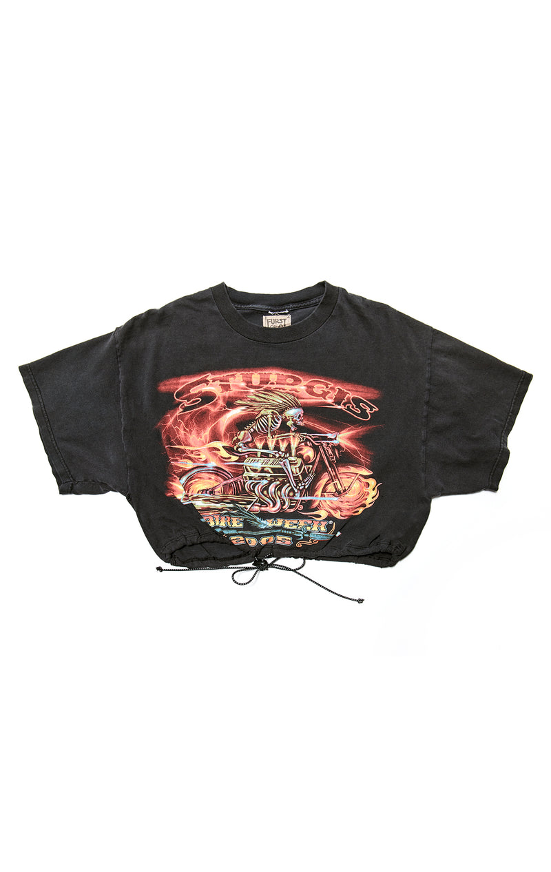 VINTAGE CINCHED CROP T-SHIRT