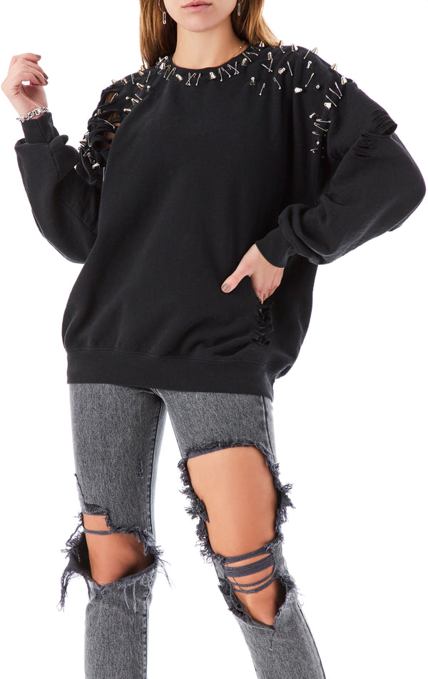 RIPPED STUD AND SAFETY PIN SWEATSHIRT