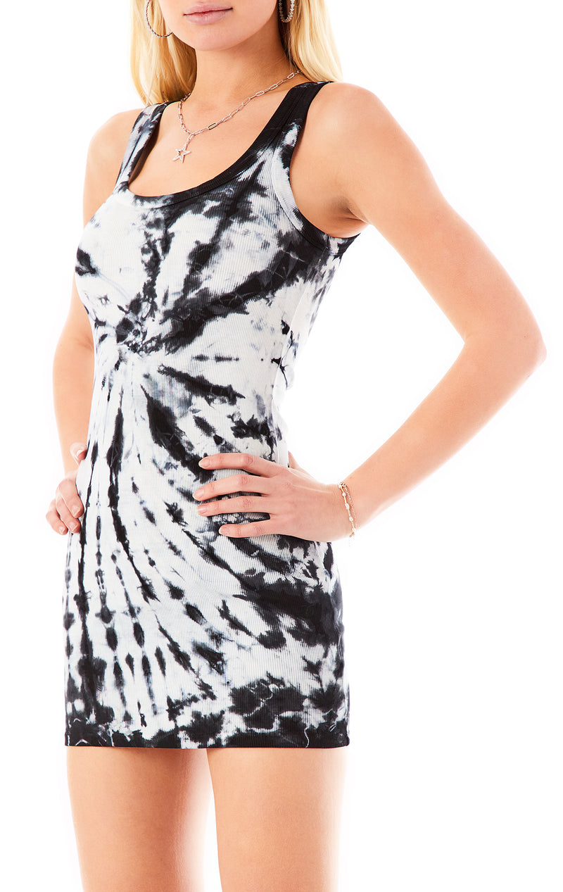 SPIRAL TIE DYE FITTED TANK DRESS