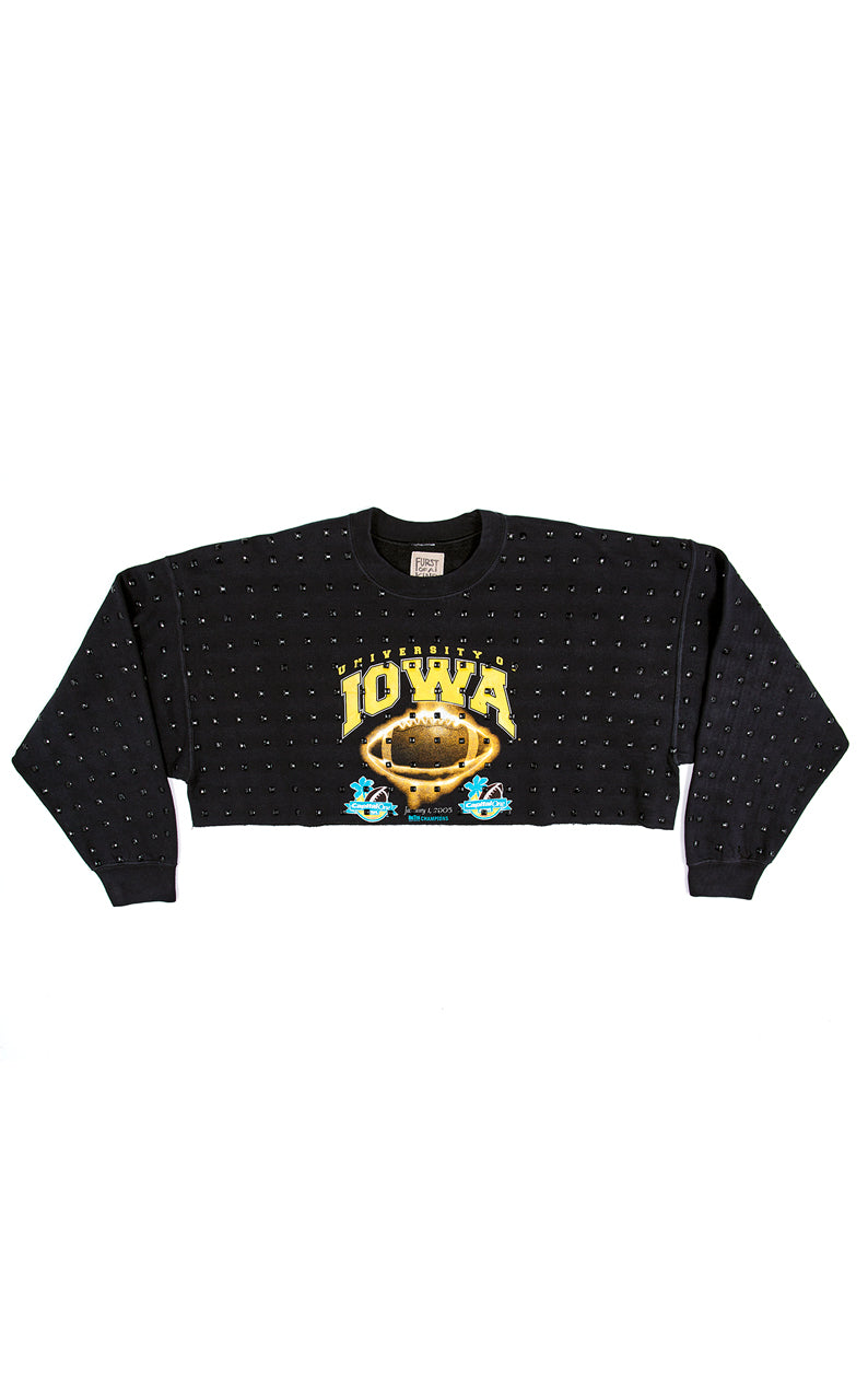 VINTAGE ALLOVER RHINESTONE CROP SWEATSHIRT