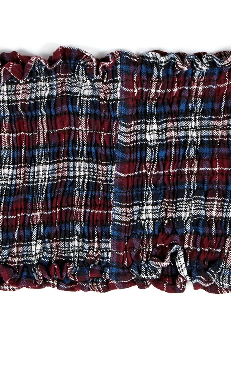 VINTAGE SMOCKED OFF THE SHOULDER FLANNEL