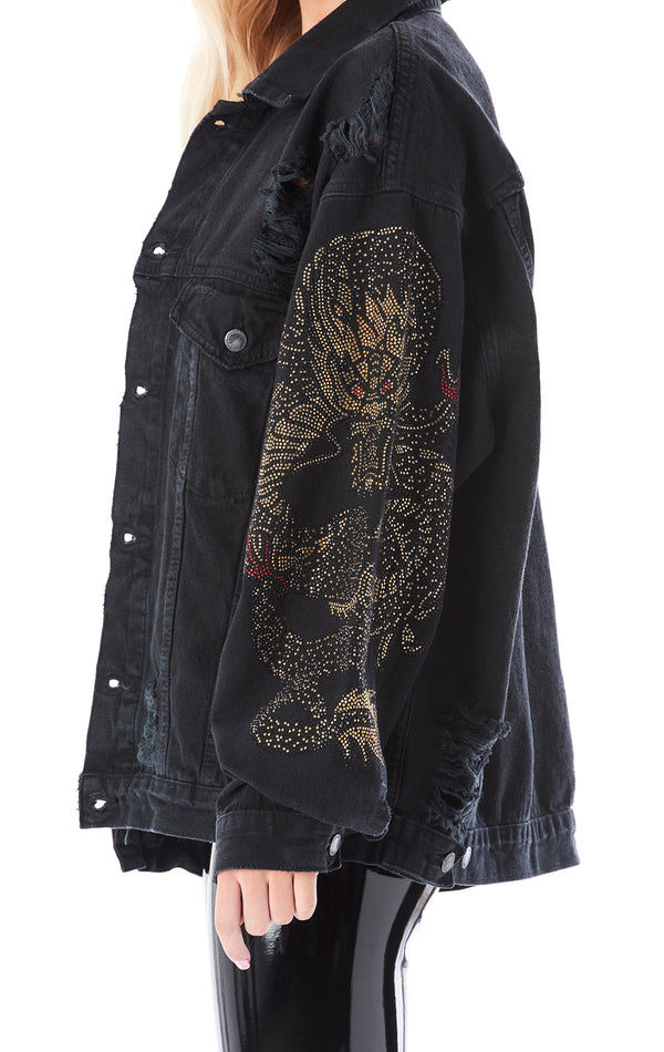 RHINESTONE DRAGON SLEEVE DENIM JACKET
