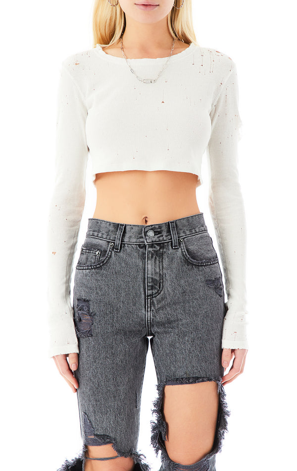 STONEWASHED LONG SLEEVE CROP THERMAL T-SHIRT