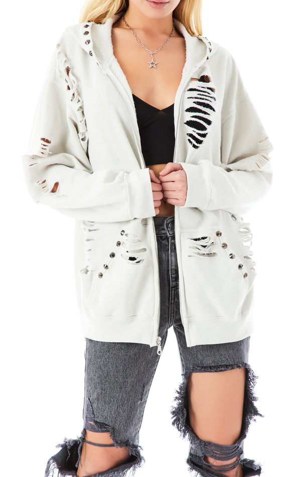 STUD RIPPED ZIP UP SWEATSHIRT