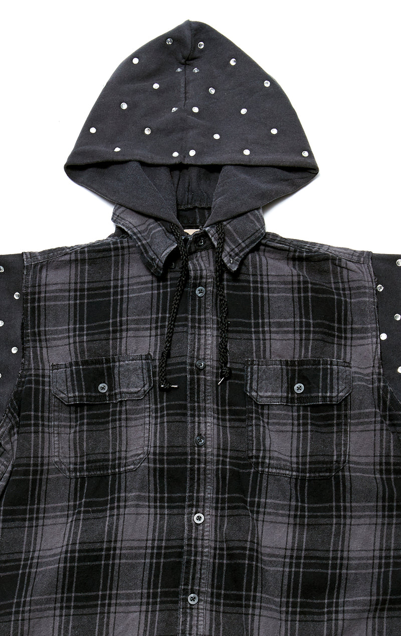 VINTAGE RHINESTONE HOODED FLANNEL