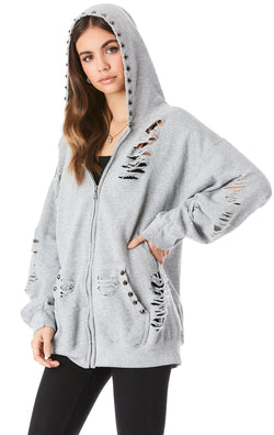 STUD HOOD ZIP UP SWEATSHIRT