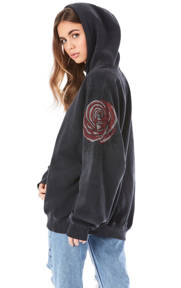 RHINESTONE ROSE HOODED SWEATSHIRT