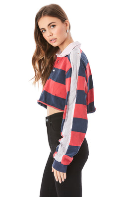 CROP OVERSIZED POLO SWEATSHIRT