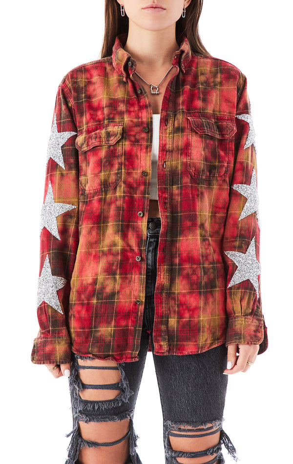 VINTAGE BLEACH STAR PATCH FLANNEL